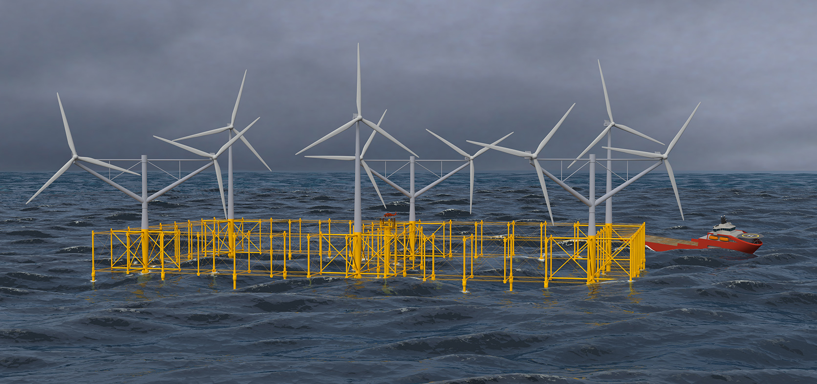 3d visuelisering av floating windpark av Flexifloat